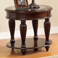 CM4642E Darby home co edenfield dark cherry finish wood oval end table with decorative glass top