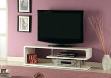 Ninove ii collection contemporary style white high gloss lacquer coating and chrome accents tv entertainment center stand