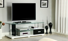 Egaleo collection modern style black and white high gloss lacquered coating tv entertainment center stand with tempered glass shelves