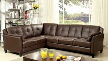 Furniture of america CM6268BR 2 pc peever collection contemporary style brown leatherette sectional sofa with tufted back and padded arms