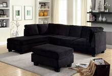 Furniture of america CM6316 2 pc lomma black flannelette fabric sectional sofa