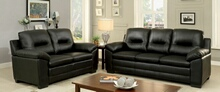 CM6324BK 2 pc parma black padded leatherette sofa and love seat set