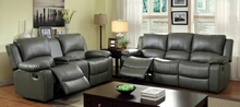 CM6326 2 pc sarles gray bonded leather match sofa and love seat with recliner ends