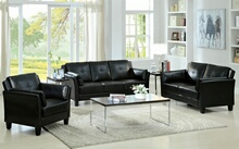 2 pc pierre collection contemporary style black leatherette upholstered sofa and love seat with tufted seat and back design and flared arms