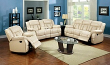 CM6827SL 2 pc barbado ivory bonded leather match sofa and love seat with recliner ends