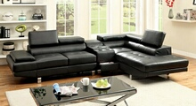 Furniture of america CM6833BK-CS 3 pc kemina collection modern style black bonded leather match upholstered sectional sofa with blue tooth speaker console with adjustable headrests and tufted seats
