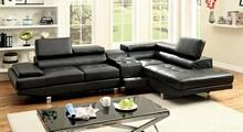 Furniture of america CM6833BK-CS 3 pc kemina black bonded leather match sectional sofa blue tooth speaker console