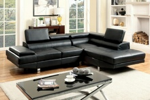 CM6833BK 2 pc kemina black bonded leather match sectional sofa with adjustable headrests