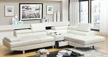 CM6833WH-CS 3 pc kemina white bonded leather match sectional sofa blue tooth speaker console