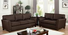 CM6954BR 2 pc Caldicot Brown tight woven chenille fabric sofa and love seat set flared arms