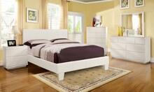 5 pc winn park white leather like vinyl upholstered contemporary style platform queen bedroom set