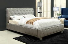 Juilliard collection silver padded and tufted leatherette queen bed set with crystal like acrylic button tufting