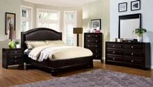 Furniture of america CM7058Q 5 pc winsor leatherette headboard platform queen bedroom set in espresso finish wood