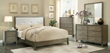 CM7068GY 5 pc enrico i gray finish wood with fabric padded headboard queen bedroom set