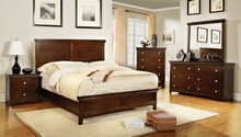5 pc spruce transitional style brown cherry finish wood queen platform bedroom set with panel headboard and footboard