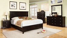 5 pc spruce transitional style espresso finish wood queen platform bedroom set with panel headboard and footboard