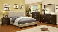 CM7200IV-CM7088 5 pc leeroy ivory padded fabric contemporary style espresso wood finish queen platform bedroom set