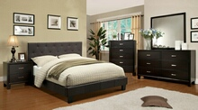 5 pc leeroy collection gray padded fabric upholstered contemporary style espresso wood finish queen platform bedroom set