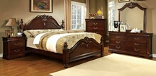 Furniture of america CM7260 5 pc mandura collection luxurious english style cherry finish wood queen bedroom set with ornamental headboard and footboard