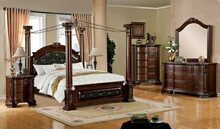 Furniture of america CM7271 5 pc. mandalay two toned brown cherry wood finish 4 posts canopy bedroom set