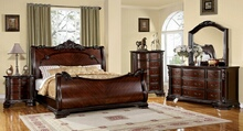 Furniture of america CM7277 5 pc. bellefonte brown cherry finish luxurious baroque style sleigh queen bedroom set