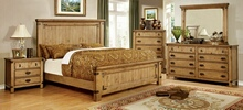 CM7449 5 pc pioneer collection weathered elm finish wood queen bed set with country style slatted look