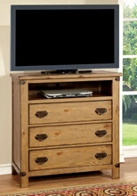 Conrad collection contemporary style distressed pine finish wood tv console media chest