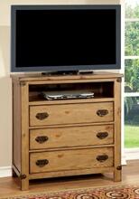 CM7449TV Conrad contemporary style distressed pine finish wood tv console media chest