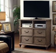 CM7611TV Belgrade contemporary style rustic natural finish wood tv console media chest