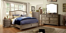 5 pc belgrade ii collection rustic natural tone finish wood queen padded headboard bed set with low footboard