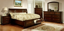 5 pc northville collection cherry finish wood queen bed set with storage drawers in the footboard