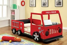 Furniture of america CM7767 Rescuer fire truck style design twin size kids red and black with silver accents sturdy metal construction bed frame set