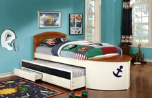Voyager nautical boat design white and oak with navy blue accents finish wood twin size bed with trundle and drawers