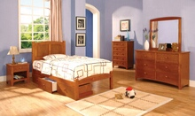 4 pc cara ii twin platform bed with panel headboard oak wood finish