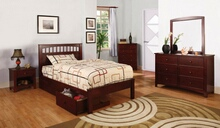 Furniture of america CM7904CH-T 4 pc carus i twin platform bed with panel headboard cherry wood finish