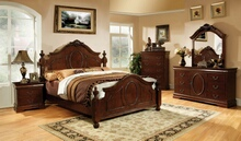 Furniture of america CM7952-1 5 pc velda ii luxurious english style warm cherry finish wood queen bedroom set with ornamental headboard and footboard