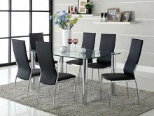 CM8319T-8310BK-7PC 7 pc kalawao ii chrome legs tempered glass top dining table set