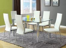 CM8319T-8310WH-7PC 7 pc kalawao i chrome legs tempered glass table top dining table set