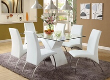 Furniture of america CM8370WH-T 7 pc. wailoa contemporary style glass table top and white finish x-shaped base dining set