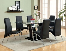 CM8372T-BK-8370BK-7PC 7 pc Florencine glenview black finish wood chrome trim base beveled glass top dining table set