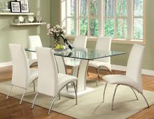 CM8372T-WH-8370WH-7PC 7 pc glenview white finish wood chrome trim base beveled glass top dining table set