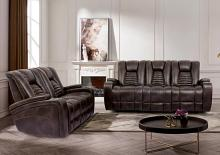 CM9902 2 pc Red barrel studio joelisa abrielle dark brown faux leather sofa and love seat with power recliner and headrest on the ends