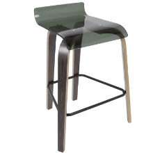 """Clarity 26"""" Contemporary Counter Stool in Dark Grey and Green Acrylic"""