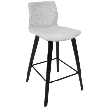 Cabo Mid-Century Modern Counter Stool in Espresso and Light Grey Fabric  - Set of 2