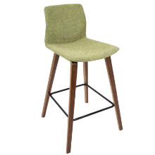 Cabo Mid-Century Modern Counter Stool in Walnut and Green Fabric  - Set of 2