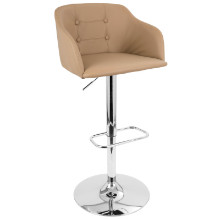 Campania Height Adjustable Mid-century Modern Barstool with Swivel in Camel