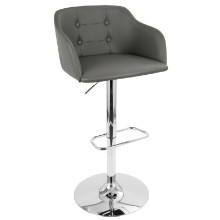 Campania Height Adjustable Mid-century Modern Barstool with Swivel in Grey