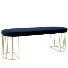 Canary Contemporary Dining/Entryway Bench in Gold and Blue Velvet