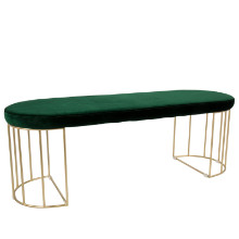 Canary Contemporary Dining/Entryway Bench in Gold and Green Velvet