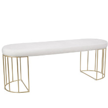 Lumisource BC-CNRY-AU-W Canary Contemporary Dining/Entryway Bench in Gold and White Mohair Fabric